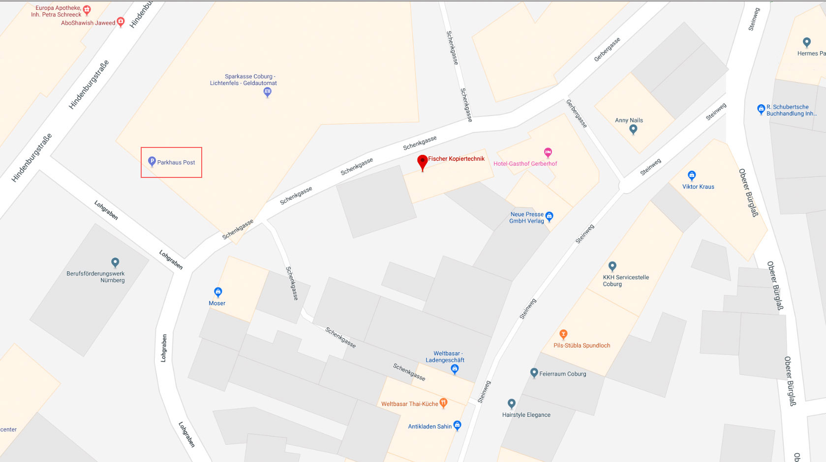 Fischer-Kopiertechnik, Standort Steinweg 51, Rückgebäude, an Parkhaus Post